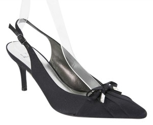 Stuart Weitzman Satin Slingback Black Pumps