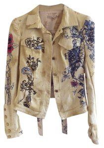 Roberto Cavalli Vintage Exotic Print Yellow Animal Print Yellow/Colorful Tiger Jean Jacket Womens Jean Jacket