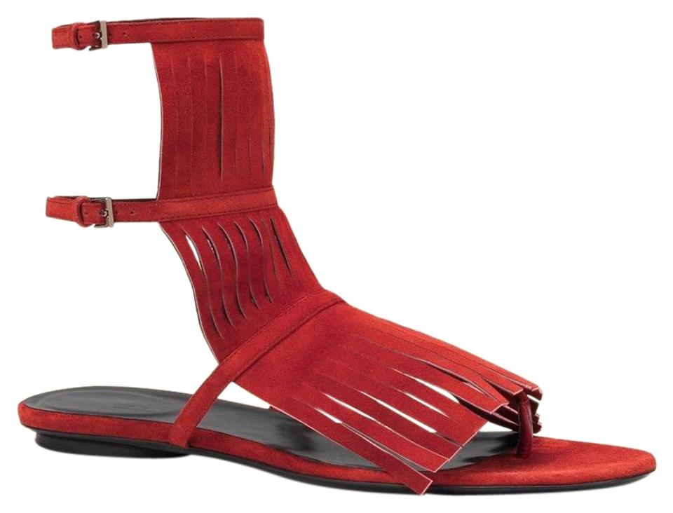 81aee404b9ce13 Gucci Red Becky Suede Fringe Gladiator Flat Thong It 34.5  4.5 ...