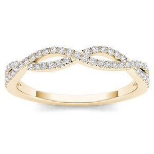 Elizabeth Jewelry 10Kt Yellow Gold Diamond Criss Cross Ring