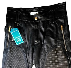 Versace for H&M Boot Cut Pants black leather & gold hardware