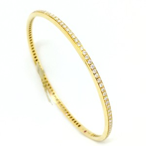 Roberto Coin 18K Yellow Gold Full Diamond Pave 1-Row Round Bangle Bracelet