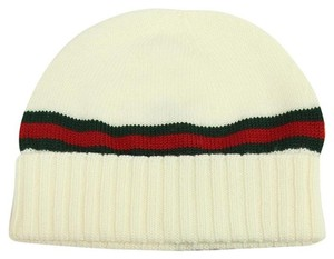 Gucci GUCCI 294731 Men's Wool with Web Stripe Beanie Hat, White Size S