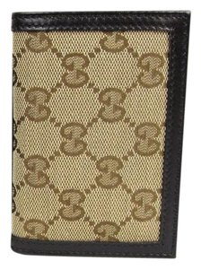 Gucci New Gucci Brown Leather Bifold Card Holder Canvas Design 307464 9643