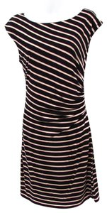 Ann Taylor LOFT short dress Black/Beige Knit Gathered Comfortable Stripe on Tradesy