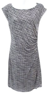 Ann Taylor LOFT short dress Black/White Knit Gathered Comfortable Graphic Print on Tradesy