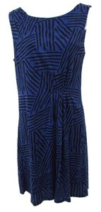 Ann Taylor LOFT short dress Blue Knit Gathered Comfortable Graphic Print on Tradesy