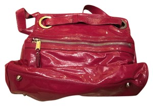 Cynthia Rowley Patent Leather Fuschia Hot Pink Pockets Hobo Bag