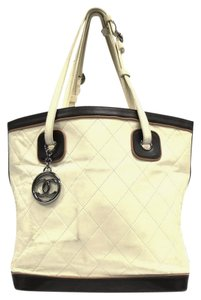 Chanel Bucket Quilted Trim Lambskin Vintage Tote in Ivory & Brown