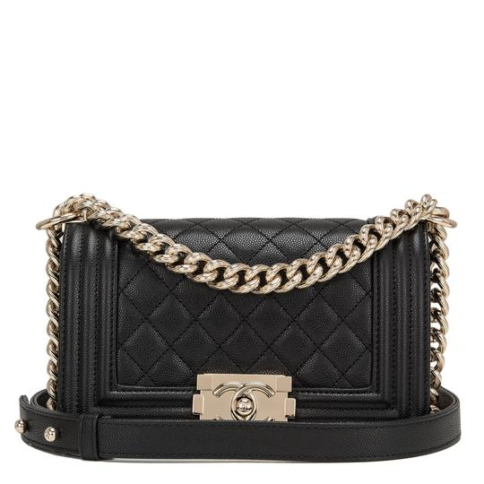 ceace994d32e Chanel Boy Quilted Caviar Small Black Leather Shoulder Bag - Tradesy