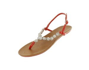 Red Circle Footwear Flat Thong Ornament Blingbling Red Sandals