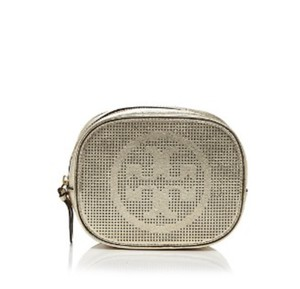 Tory Burch NWT TORY BURCH LOGO PERFORATED METALLIC COSMETIC CASE BAG CLUTCH GOLD