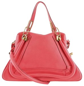 Chlo Chloe Leather Paraty Satchel in Coral