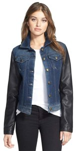 Laundry by Shelli Segal Leather Denim Bomber Vegan Leather Blue & Black Womens Jean Jacket