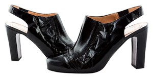 Nanette Lepore Patent Leather Ruffle Slingback Heels Black Boots