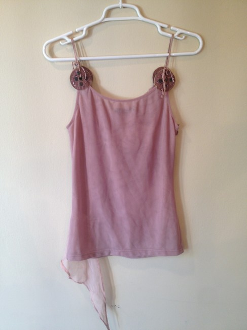Anthropologie Studded Leather Mesh Nylon Small Adjustable Sequence Detail Top pink