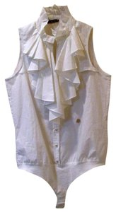 Roberto Cavalli Bodysuit Ruffle Pleated Button Down Shirt white