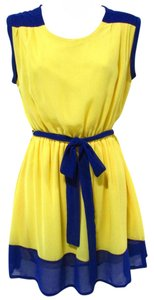 Eunishop short dress Yellow/Blue Color Block Colorful Bright Spring on Tradesy