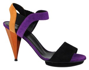 Gucci Liberty Colorblock Suede Platform Black/Orange/Purple Sandals