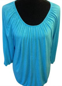 Michael Kors Comfortable Loose Longer Length Top Turquoise Blue