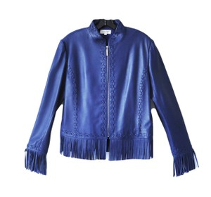 St. John Cobalt Leather Fringe Blue Leather Jacket