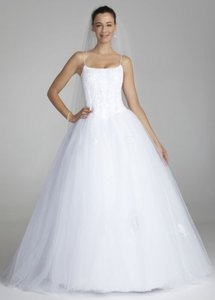 David's Bridal Spaghetti Strap Tulle Ball Gown With Corset Wedding Dress