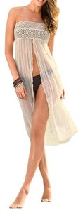 Other Blue Island Sheer Mesh Slit Beach Cover Up, Natural SW265