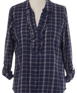 Joie Plaid Like New Size 8 Button Down Shirt navy plaid