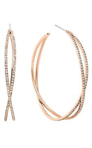 Michael Kors Michael Kors MKJ4408791 Criss-Cross Crystal Rose Gold Hoop Earrings