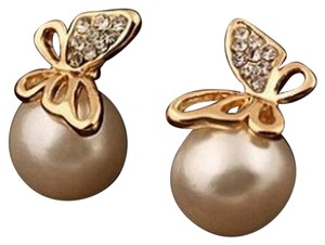 Other New 14K Gold Filled Pearl Butterfly Stud Earrings J3153