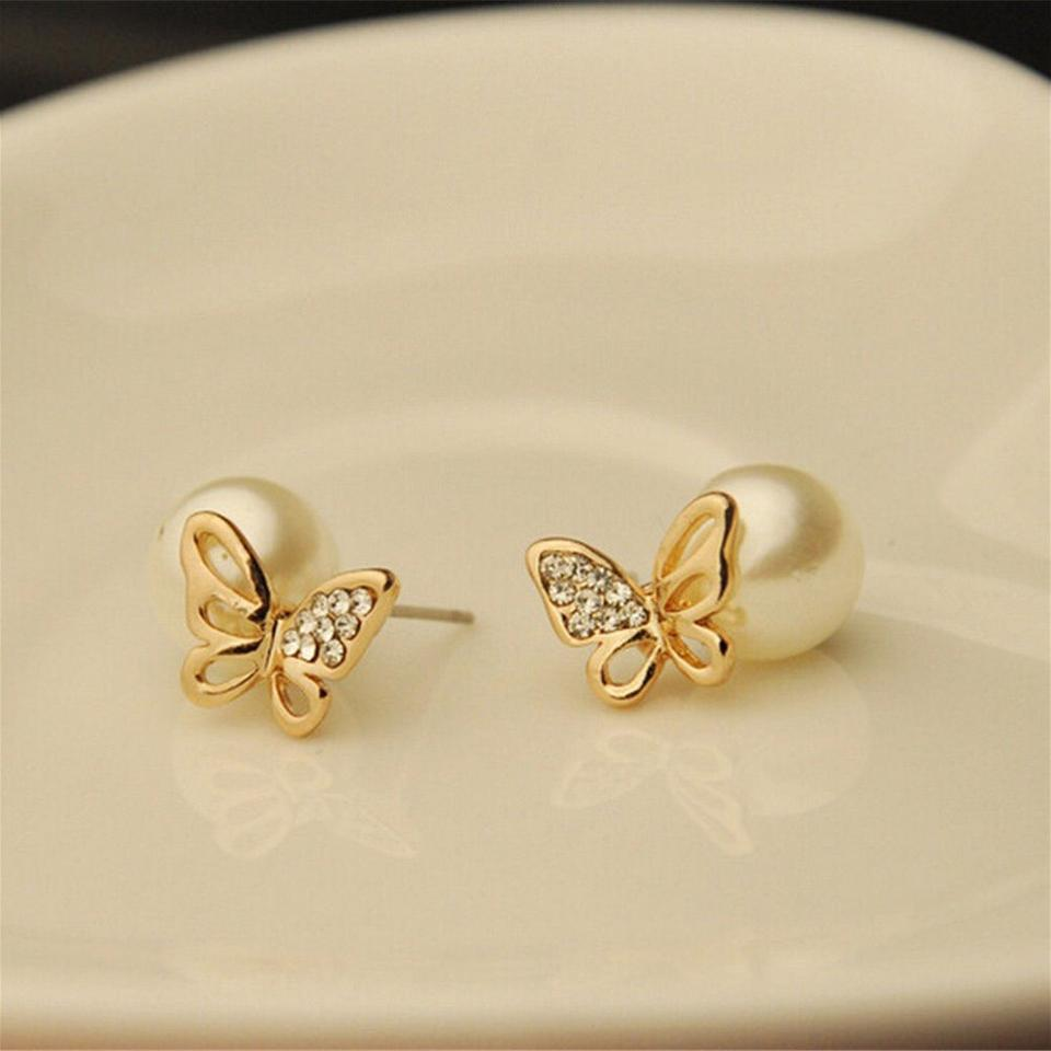 Gold White New 14k Filled Pearl Butterfly Stud J3153