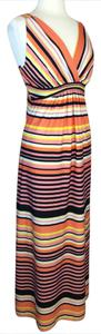 Peach, yellow, black and white Maxi Dress by Metaphor