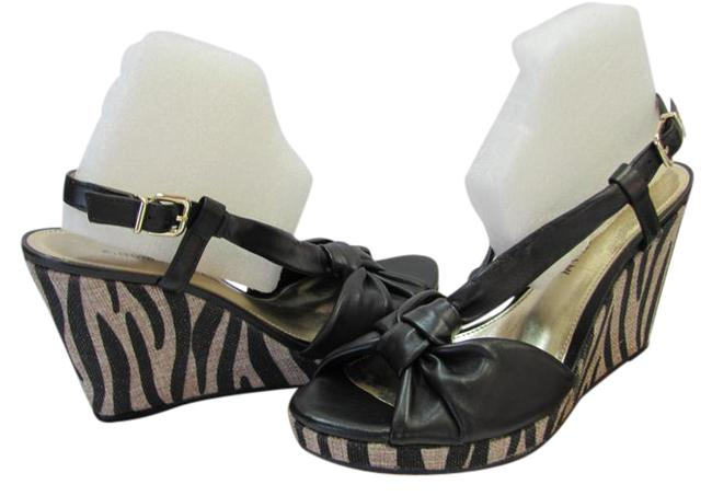 Item - Black Neutral M Leather Animal Print Very Good Condition Wedges Size US 8 Regular (M, B)