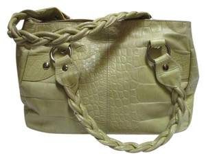 Roberta Pastel Hardware Soft Leather Satchel in Pebbled Acorn Squash Silver Accents