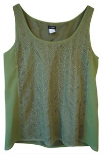 J.Crew Green Leaf Lace Panel Sleeveless Top