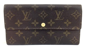 Louis Vuitton #10665 Monogram Long Flap Wallet Pocket Card Case Coin zipper zip