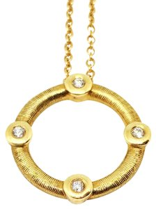 Roberto Coin Roberto Coin Four Diamond Stud Small Circle Pendant Necklace