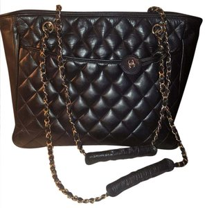Chanel Lambskin Gold Chain Vintage Tote in black