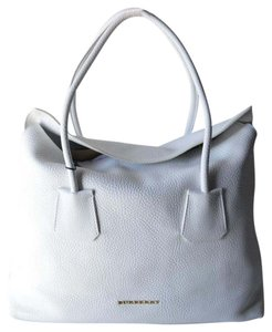 Burberry Leather Baynard Check New Tote in White
