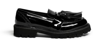 MSGM Patent Leather Shinny Loafers Tassel BLACK Flats