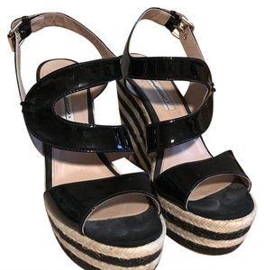 Brian Atwood Black and Off White Wedges