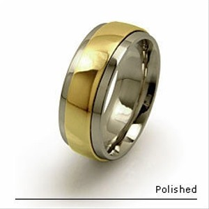 Yellow Gold And Titanium Men's Wedding Band