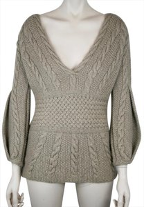 Oscar de la Renta Cable Knit Chunky V Neck Cashmere Sweater
