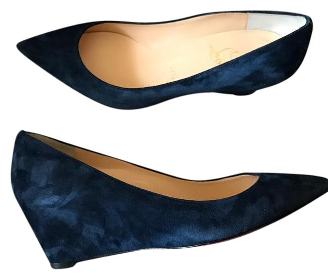 Item - Navy Blue Night Pipina Suede Pointed 55mm Pump Wedges Size EU 39 (Approx. US 9) Regular (M, B)