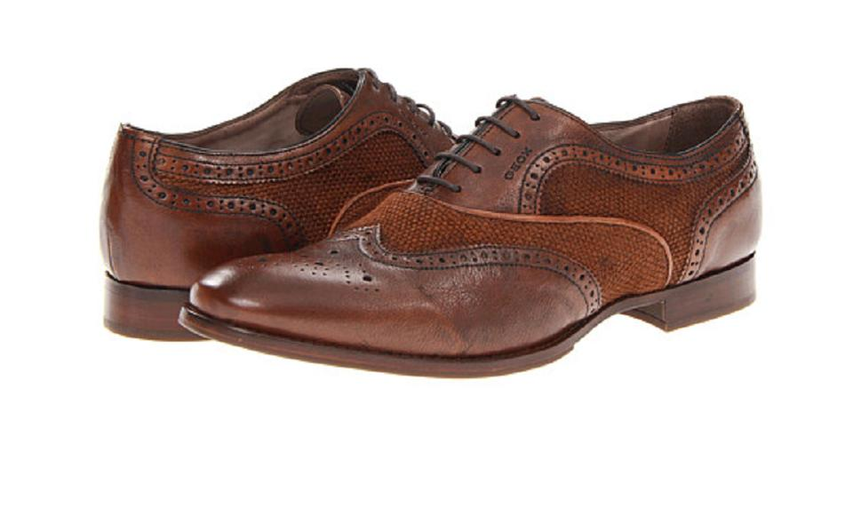 Geox Brown Men's LeatherTextile Oxfords Formal Shoes Size US 10 Regular (M, B)