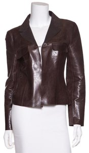 Chanel Chocolate Brown Leather Jacket