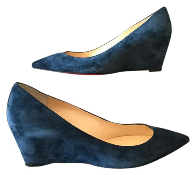 Item - Navy Blue Pipina 37.5 Suede Pointed 55 Pump Wedges Size US 7.5 Regular (M, B)