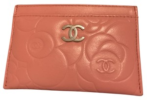 Chanel Chanel Pink Lambskin Leather Camellia Card Holder