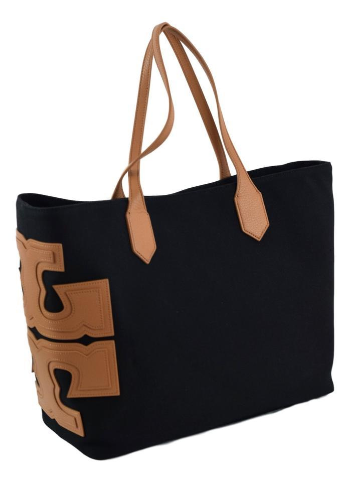 Tory Burch Stacked East West Tote In Black