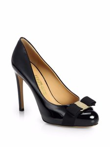 Salvatore Ferragamo Patent Leather Logo Leather Stiletto Black Pumps